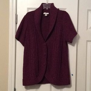 Plum colored short sleeve sweater